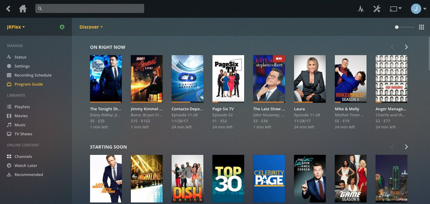 The Plex program guide is pretty, but its harder than it needs to be to navigate to specific channels and times.