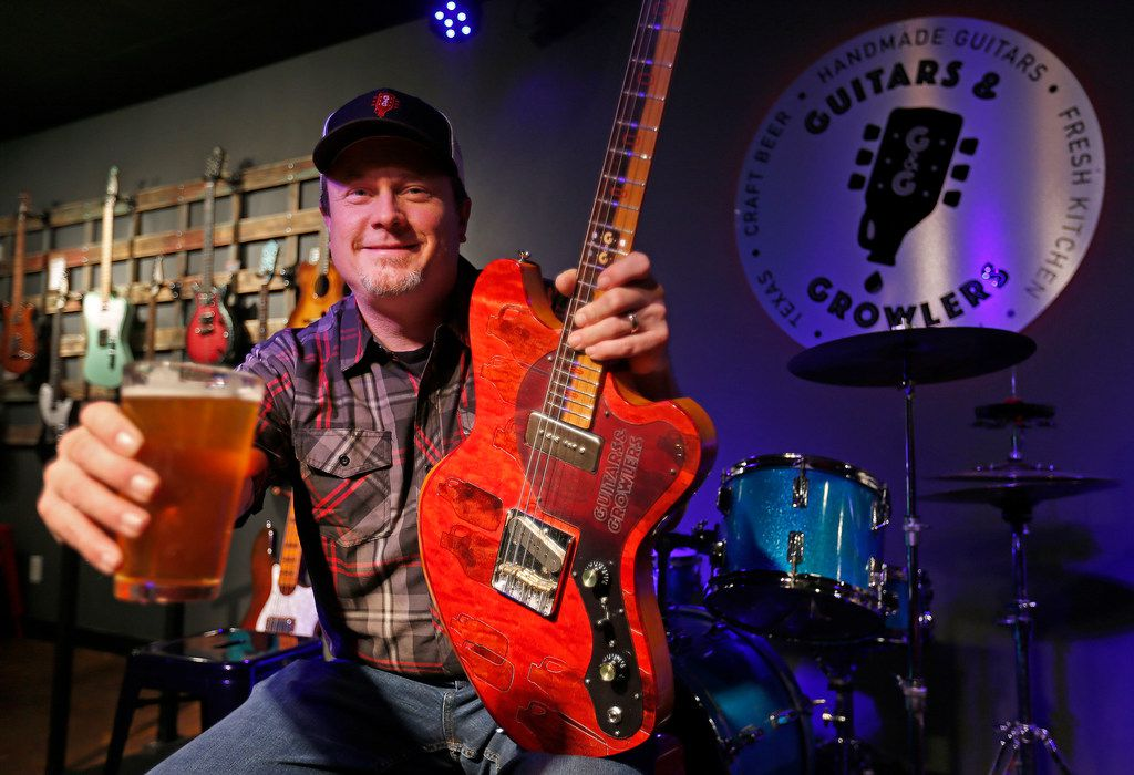 Guitars and Growlers co-owner Robert Baker is a longtime custom guitar builder. His bar now also acts as a showroom and store where people can buy the instruments.