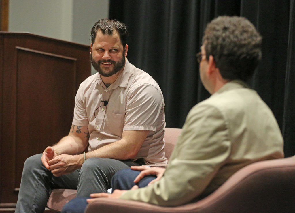 """Dallas Morning News architecture critic Mark Lamster, right, and Dallas chef Chad Houser, who founded Cafe Momentum, participate in the first Dallas Morning News """"Duets"""" speaking series held at the newspaper's office in downtown Dallas, photographed on Wednesday, March 28, 2018."""