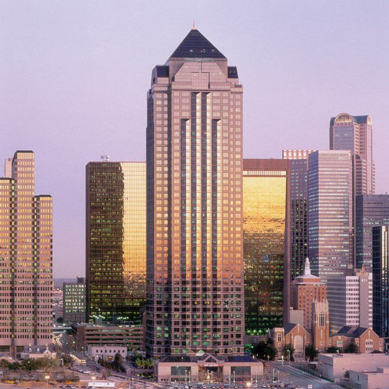 The 50-story Trammell Crow Center is at Ross Avenue and Harwood Street in downtown Dallas' Arts District.