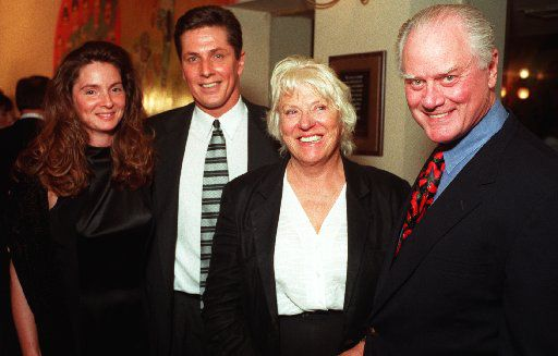 Jeannie Biernat and former Palm manager Al Biernat with Maj and Larry Hagman  at 1997 Palm Night benefiting the Family Place.