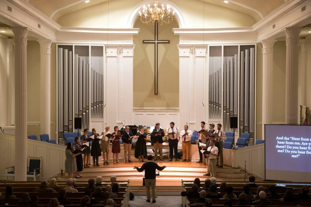 Conductor Sam Brukhman leads Verdigris Ensemble as it performs Betty's Notebook at Royal Lane Baptist Church in Dallas on Saturday, Feb. 9, 2019.
