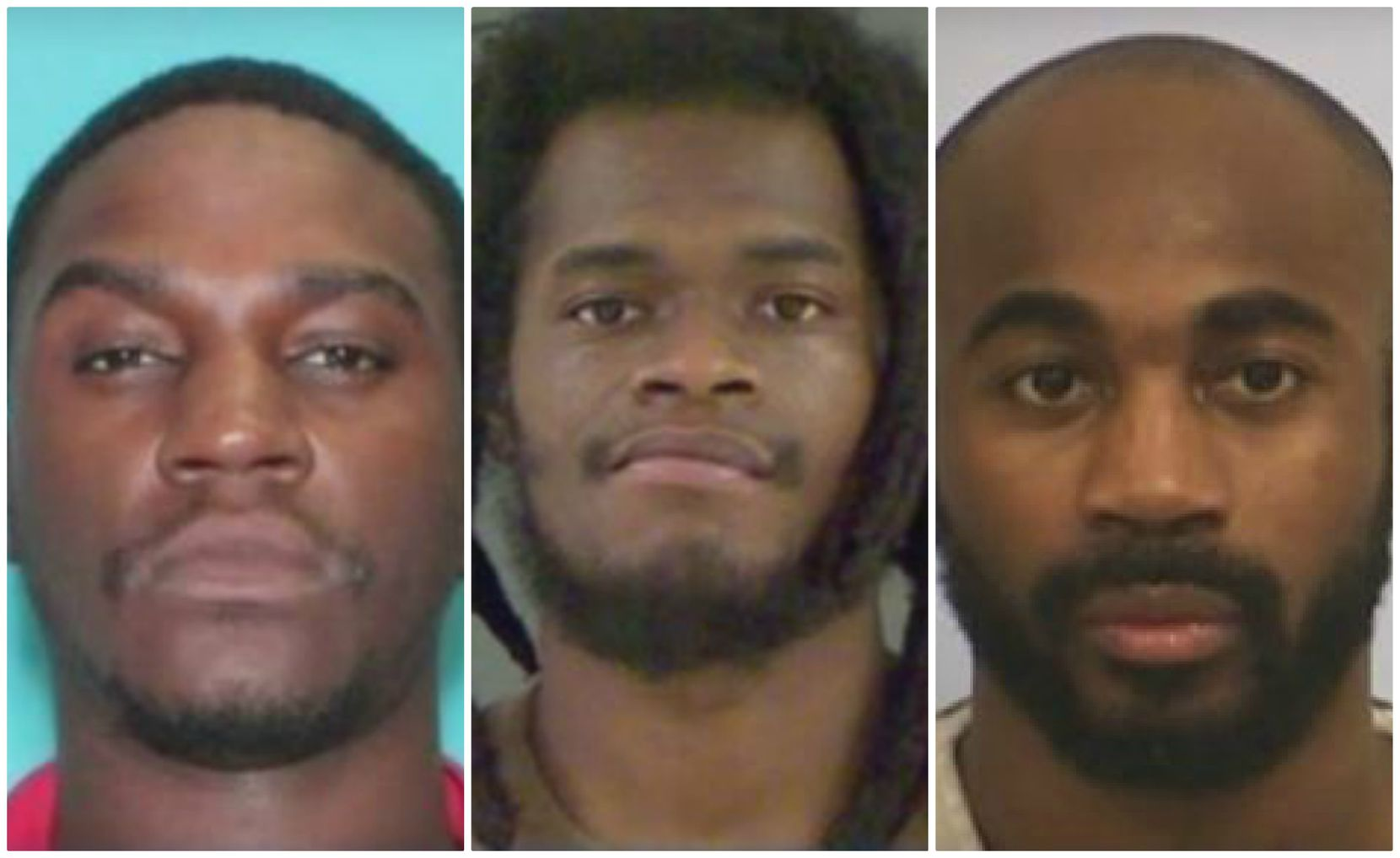From left: Marcellus Burgin, 29, of Cypress and Rasul Scott, 27, of Louisiana were sentenced Tuesday to 25 years and 17 1/2 years in prison, respectively, and Chimene Onyeri got a life sentence last month.