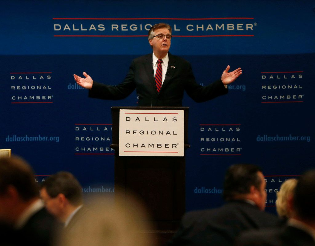 Lt. Gov. Dan Patrick gives a keynote speech during a Dallas Regional Chamber luncheon at the Belo Mansion in Dallas on Oct. 20, 2016. (Rose Baca/The Dallas Morning News)