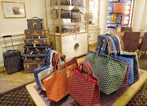 Goyard handbags on display in Bergdorf Goodman.