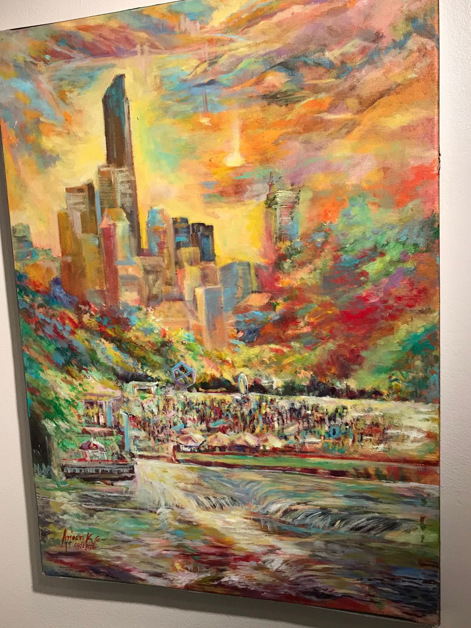 One of Arjoon KC's paintings on display at the Irving Arts Center.
