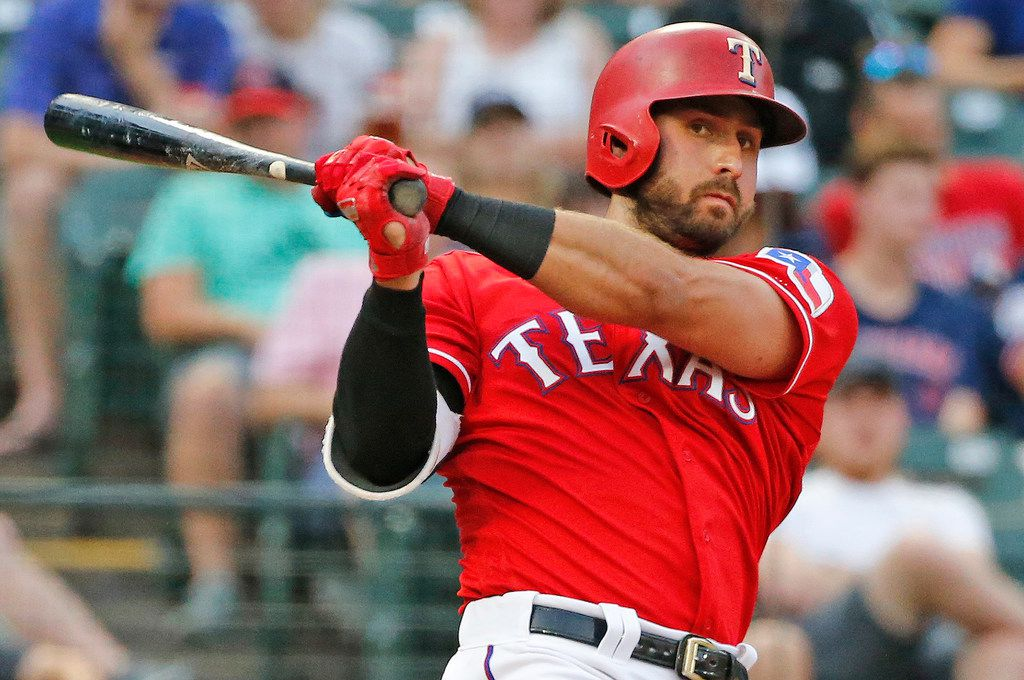 Texas Rangers left fielder Joey Gallo (13) is pictured during the Cleveland Indians vs. Texas Rangers major league baseball game at Globe Life Park in Arlington, Texas on Friday, July 20, 2018. (Louis DeLuca/The Dallas Morning News)