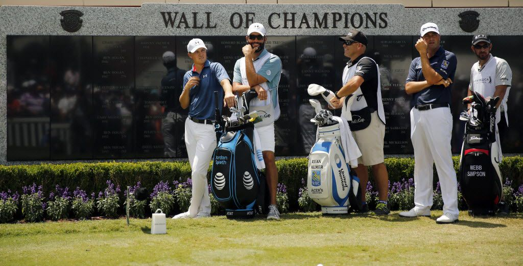 Jordan Spieth of Dallas (left) and Ryan Palmer of Colleyville (second from right) both looked to add their name to the Wall of Champions as they prepare to tee off in the final round of the Dean and Deluca Invitational at the Colonial Country Club in Fort Worth, Sunday, May 29, 2016. (Tom Fox/The Dallas Morning News)