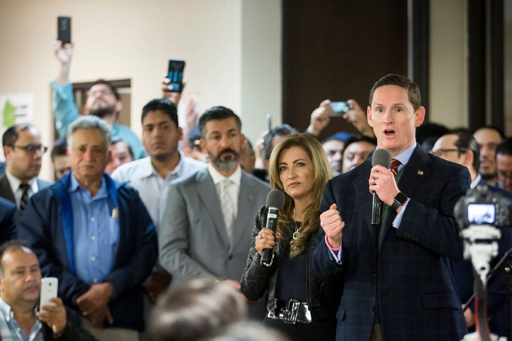 Dallas County Judge Clay Jenkins addresses a community meeting on possible deportations at the Consulate General of Mexico on Thursday, Feb. 16, 2017, in Dallas. (Smiley N. Pool/The Dallas Morning News)