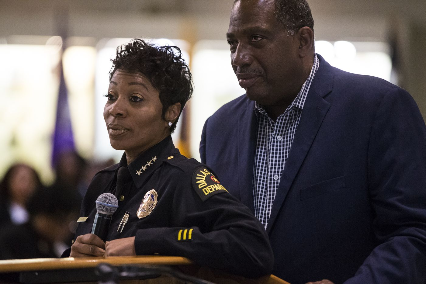 Dallas Police Chief U. Renee Hall and State Senator Royce West listen as people ask questions regarding Botham Shem Jean following an African American Leadership summit on Saturday, September 8, 2018 at Paul Quinn College in Dallas. Jean was shot by a Dallas police officer in his home on Thursday night.