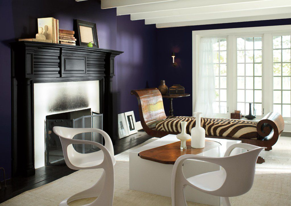 Rich and saturated, Shadow from Benjamin Moore is a dramatic, royal amethyst. It leads a 2017 palette of corresponding darkened hues.