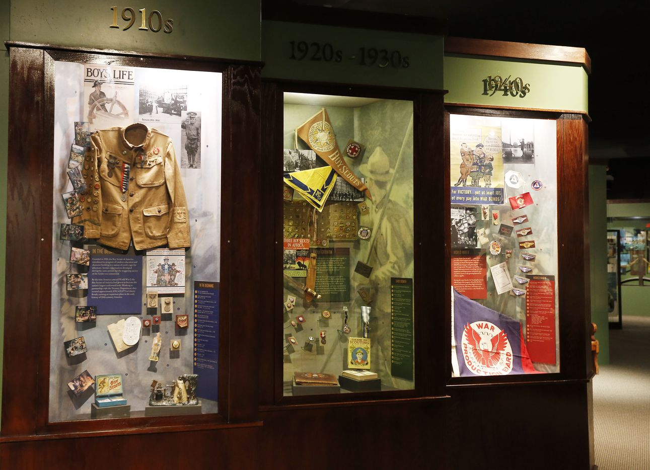 Scouting garb from the 1900s-40s is on display at the National Scouting Museum in Irving. (2015 File Photo/Brandon Wade)