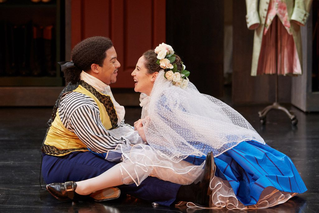 Aubrey Allicock (left) as Figaro and Monica Dewey as Susanna in Mozart's The Marriage of Figaro, performed at the Opera Theatre of St. Louis.