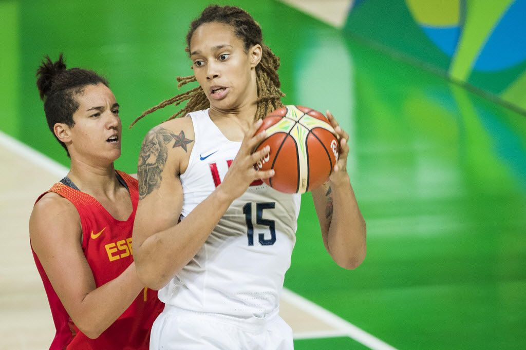 Brittney Griner (15) of United States grabs a rebound away from Laura Nicholls (4) of Spain during the women's basketball gold medal game at the Rio 2016 Olympic Games on Saturday, Aug. 20, 2016, in Rio de Janeiro. (Smiley N. Pool/The Dallas Morning News)
