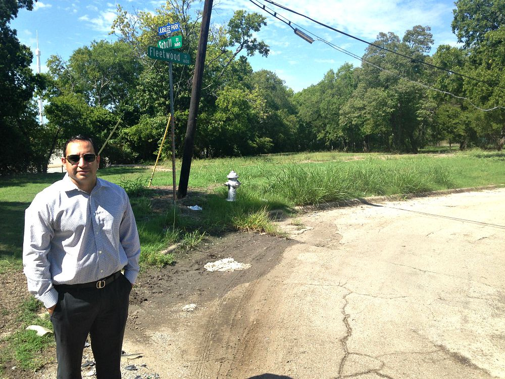 Ben Leal, CEO of Jubilee Park, stands in the donated Fleetwood lot Monday afternoon.