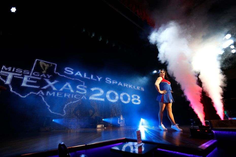 Sally Sparkles, Miss Gay Texas America 2008, performed a cheerleader routine to kick off the finale of the pageant.