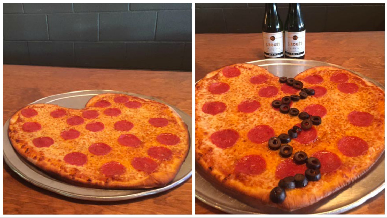 Couples, your pizza is on the left. Singles, to the right.