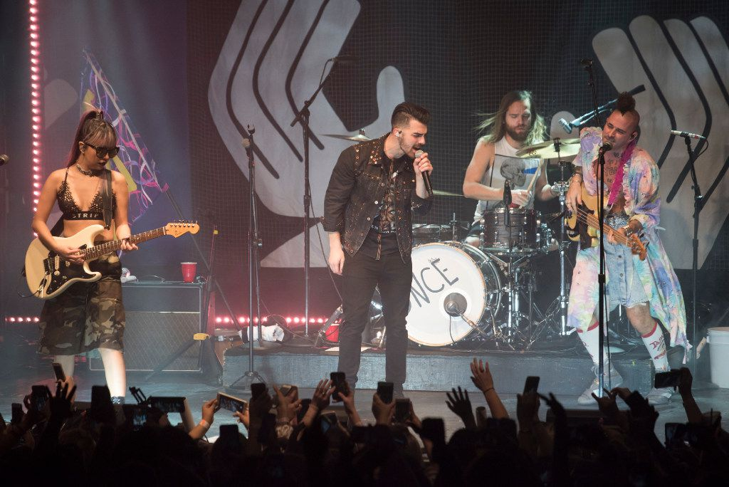 JinJoo Lee, left, Joe Jonas, center, Cole Whittle, right, and Jack Lawless, rear, of the band DNCE, perform at the Granada Theater on Saturday, Jan. 28, 2017.   (Rex C. Curry/Special Contributor)