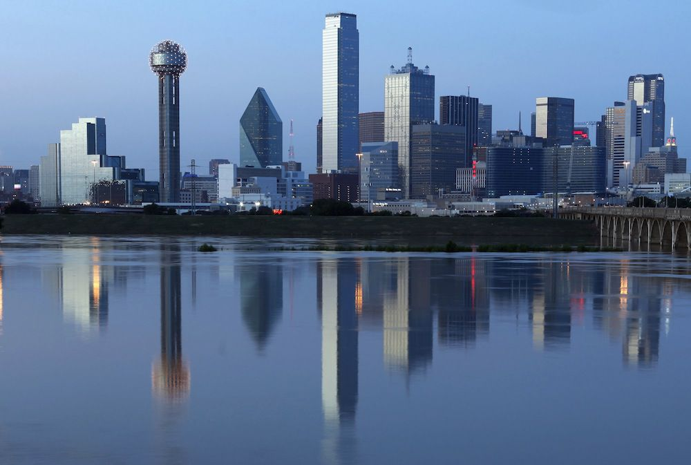 The Dallas skyline and the Trinity River.