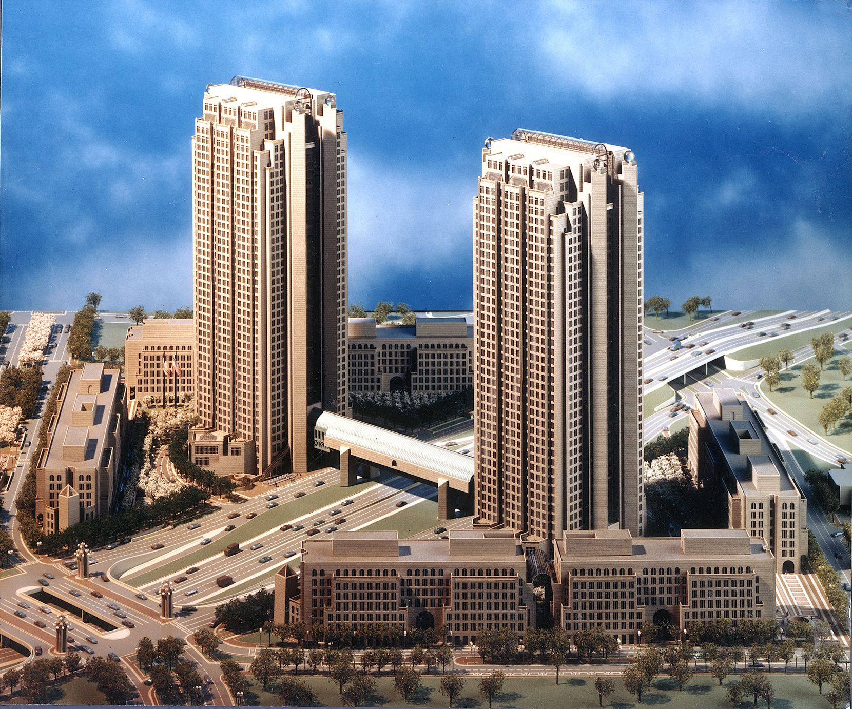 The Cityplace Tower was originally to be part of a larger office complex that included a twin skyscraper and surrounding office buildings that were never constructed.
