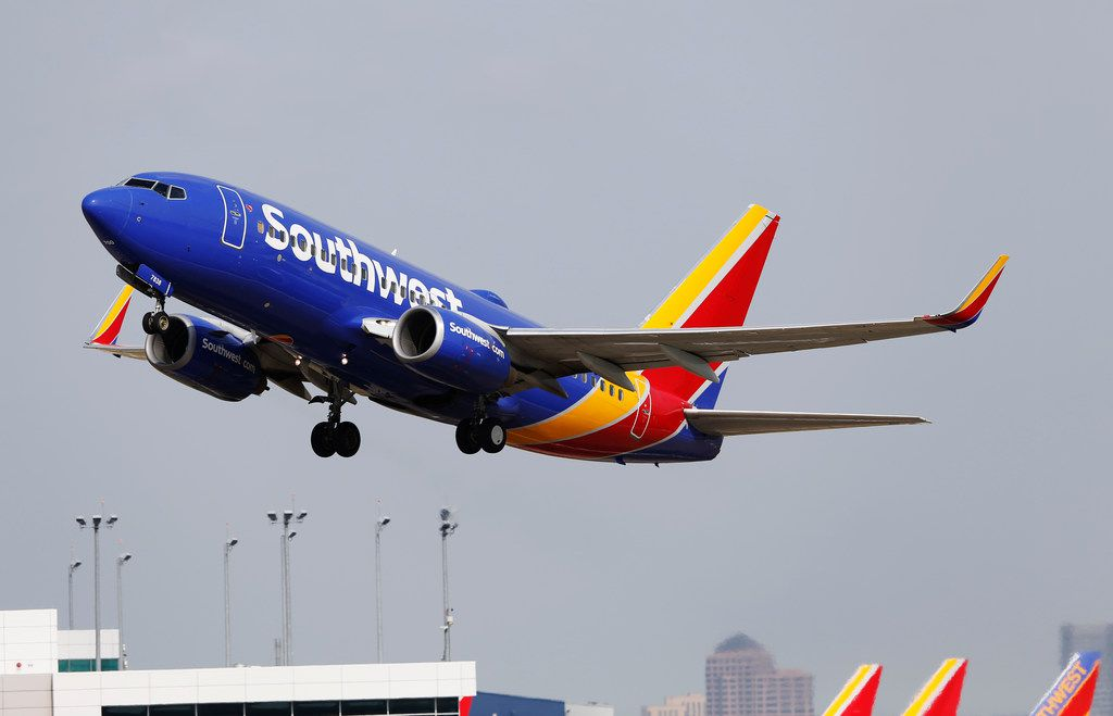 A Southwest Airlines plane takes off from Dallas Love Field in Dallas on Wednesday, June 13, 2018. (Vernon Bryant/The Dallas Morning News)