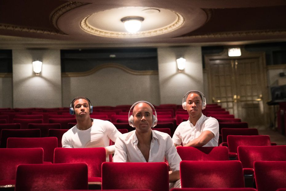 Dancers Kimara Wood (left), Sean J. Smith and Claude Alexander III don headphones that audience members will use to choose between three scores during performances of The B-Side.