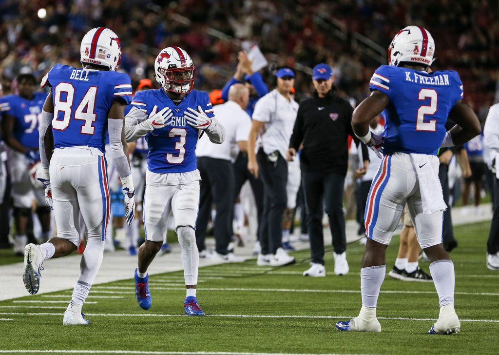 FILE - Southern Methodist Mustangs wide receiver James Proche (3) celebrates scoring a touchdown during the second quarter a matchup between the Southern Methodist Mustangs and the Houston Cougars on Saturday, Nov. 3, 2018 at Ford Stadium in Dallas. (Ryan Michalesko/The Dallas Morning News)