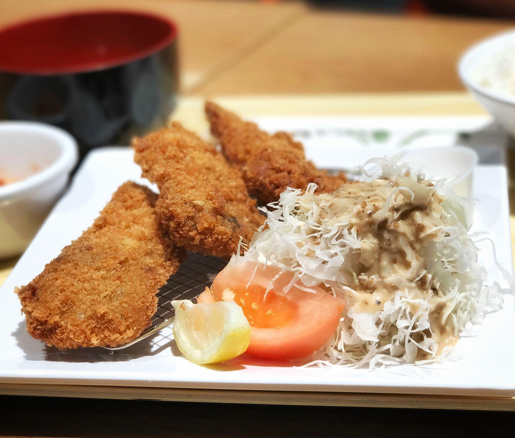 Tonkatsu, served with traditional shredded cabbage garnish, at Tonkatsu Kaneda in Plano