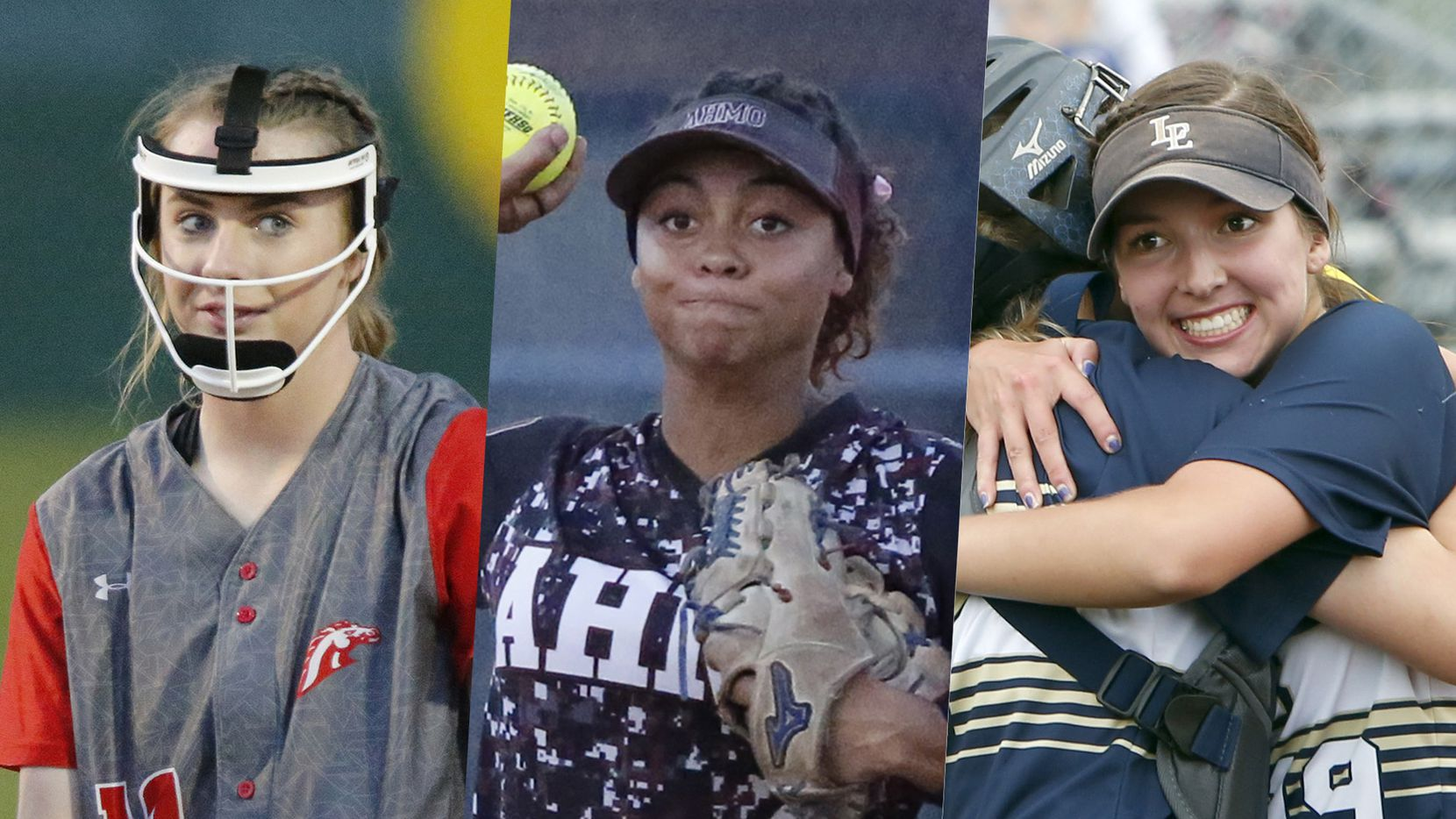 From left to right: McKinney Boyd's Kinsey Kackley, Wylie's Rylen Wiggins and Little Elm's Lauren Lucas.