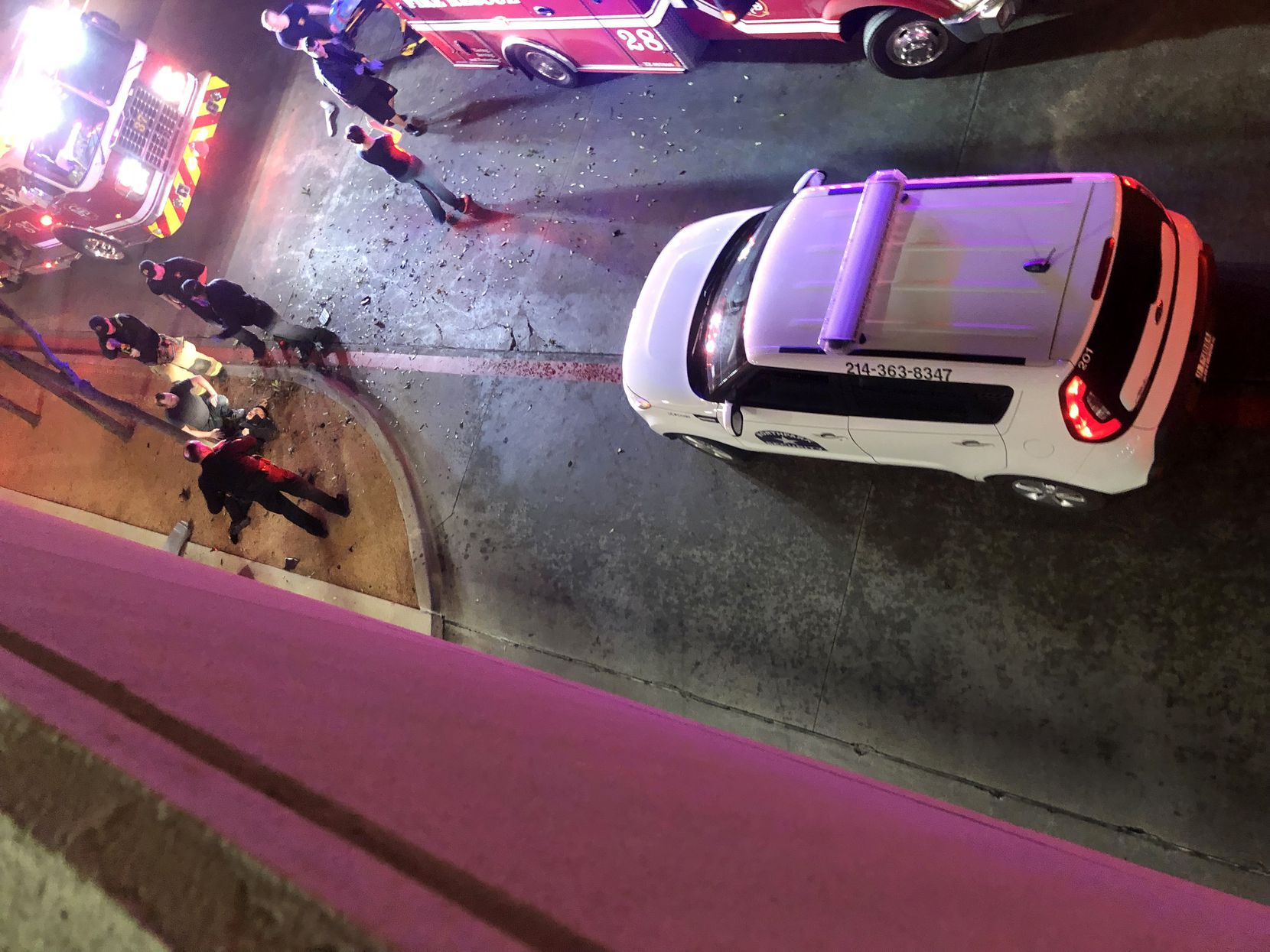 A Dodge Charger driven by Christopher Ryan Shaw, 29, struck two pedestrians, killing Yu Luo and injuring Shiguo Wang (at left), on March 11 in a parking garage at NorthPark Center.