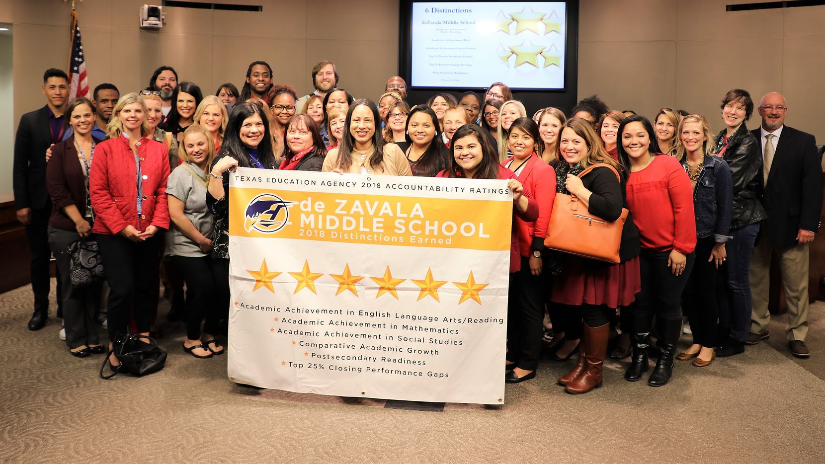 De Zavala Middle School in Irving celebrates earning six distinctions from the Texas Education Agency. Photo from Irving ISD.