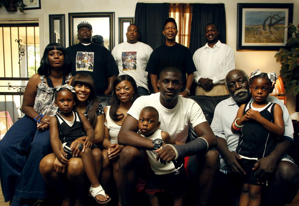Cowboys first-round draft pick Morris Claiborne and his family at the family home in Shreveport, LA Wednesday, May 2, 2012. (L-R front row) Opal Claiborne, mother, Kenota O'Dear, niece, Crystal Claiborne, sister, Shaletha Jackson, girlfriend, Morris Claiborne, Jr., son, Morris Claiborne, Robert Claiborne, father, Kianna Claiborne, niece. (L-R back row) Brandon Claiborne, brother, Roger Claiborne, brother, Derrick Claiborne, uncle, and Shawn Claiborne, uncle.(Brad Loper/The Dallas Morning News)