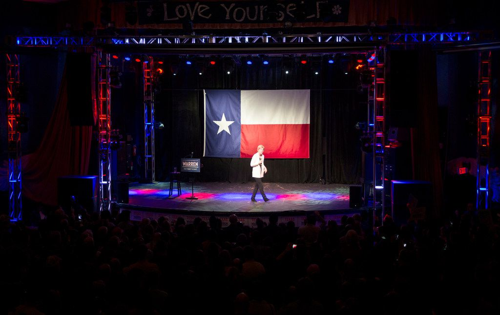Sen. Elizabeth Warren (D-MA), one of several candidates running for the Democratic Party's primary nomination in the 2020 presidential election, speaks during a campaign stop at the Granada Theater in Dallas on Sunday, March 10, 2019. After speaking Warren fielded questions from the audience, then took pictures with attendees.