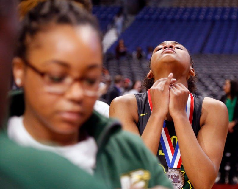 Desoto's Kendall Brown can't hide her disappointment after getting her medal. UIL girls basketball 6A State final between DeSoto and Judson on Saturday, March 2, 2019 at the Alamodome in San Antonio, Texas. (Ron Cortes/ Special Contributor) ORG XMIT: 10043972A