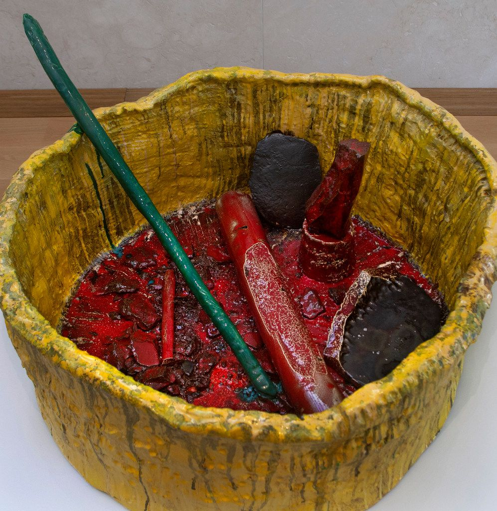 Sterling Ruby's Basin Theology suggests a gigantic ashtray filled with puzzling objects.