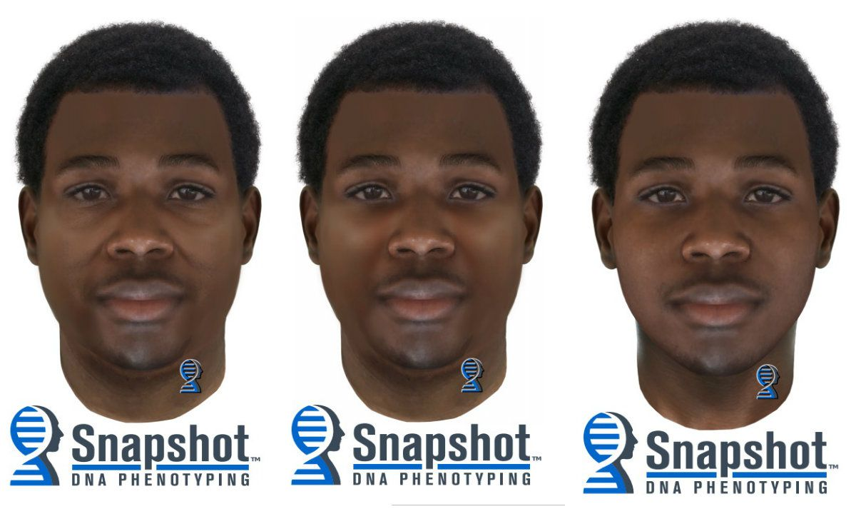 From left: A composite photo shows the suspect at about 35 years old with 32.6 body mass index, at about 25 years old with 32.6 BMI, and at about 25 years old with 22 BMI.