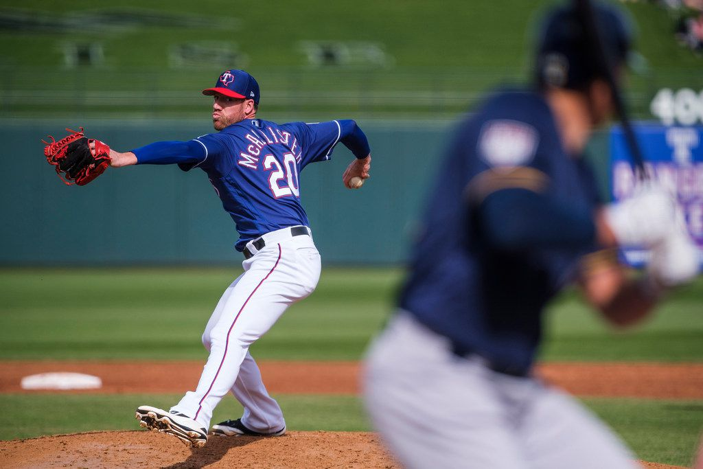 Texas Rangers pitcher Zach McAllister pitches during the second inning of a spring training baseball game against the Milwaukee Brewers at Surprise Stadium on Sunday, Feb. 24, 2019, in Surprise, Ariz.. (Smiley N. Pool/The Dallas Morning News)