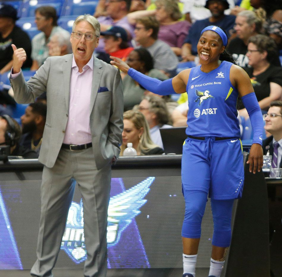 Dallas Wings guard Arike Ogunbowale (24) heads to the team bench after speaking with Wings head coach Brian Agler during first half action against New York Liberty. The two teams played their WNBA game at College Park Center in Arlington on August 1, 2019. (Steve Hamm/ Special Contributor)