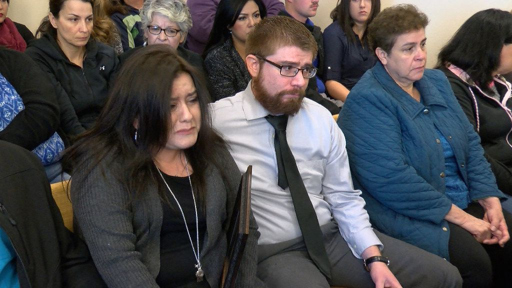Veronica Garcia (left) was surrounded by family members Thursday during a sentencing hearing in Albuquerque. Defendant Tony Torrez was sentenced to 16 years in prison for fatally shooting Garcia's 4-year-old daughter in a road-rage case. (Dominic Crespin/KRQE News 13)
