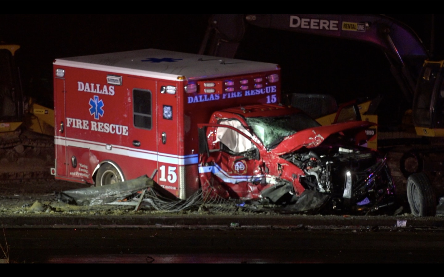 A driver in a pickup truck crashed into a Dallas Fire-Rescue ambulance early Sunday morning in west Oak Cliff. The crash sent two medics in the ambulance and the pickup truck driver to the hospital, where the  driver of the pickup truck was pronounced dead, officials said.