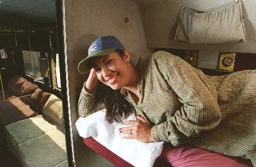 Selena poses in her tour bus on Sept. 24, 1991.