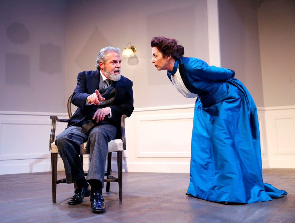 Shannon J. McGrann playing Nora (right) and J. Brent Alford playing her husband Torvald in A Doll's House, Part 2, presented by Stage West Theatre in Fort Worth.
