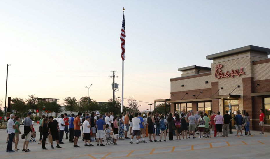 At the opening of a new Chick-fil-A in Addison in 2016, customers waited 24 hours to receive one Chick-fil-A meal per week for a year.