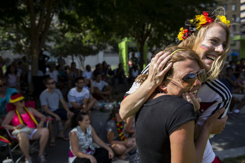 Roeien Baldrich, right, embraced Leonie Leiber during a Dallas watch party after Germany won the 2014 FIFA World Cup.