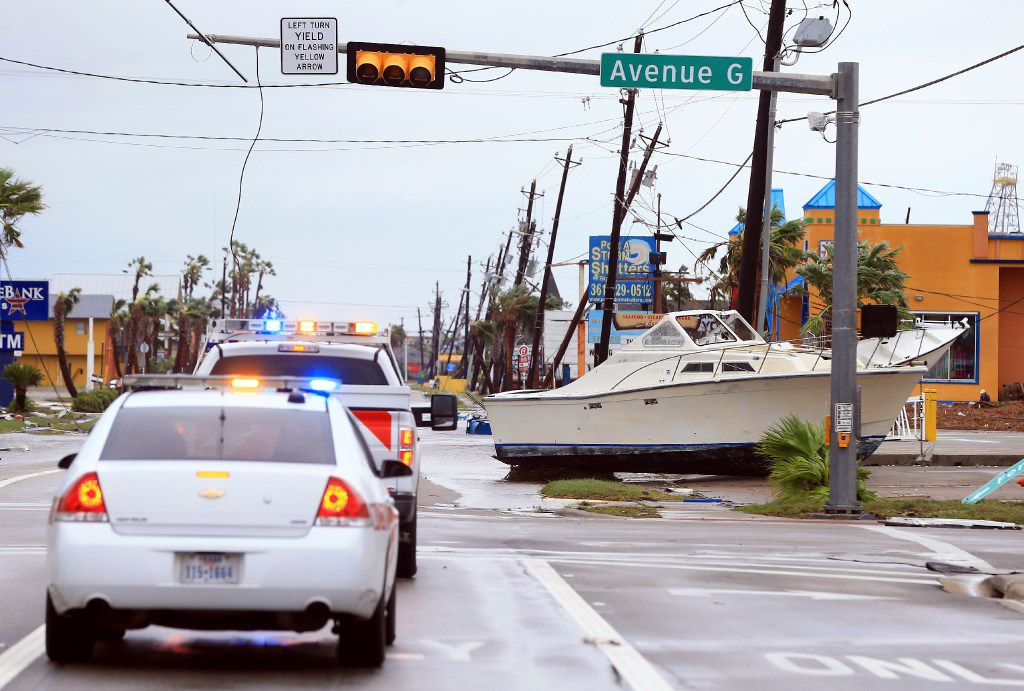 A boat is located on land after Hurricane Harvey landed in the Coast Bend area on Saturday, Aug. 26, 2017, in Port Aransas, Texas. The National Hurricane Center has downgraded Harvey from a Category 1 hurricane to a tropical storm. Harvey came ashore Friday along the Texas Gulf Coast as a Category 4 storm with 130 mph winds, the most powerful hurricane to hit the U.S. in more than a decade.