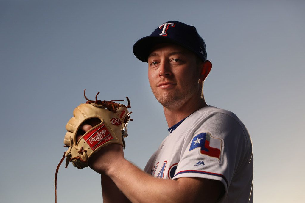 FILE - Texas Rangers pitcher Adrian Sampson poses for a photo during Spring Training picture day at the team's training facility on Wednesday, Feb. 21, 2018, in Surprise, Ariz. (Smiley N. Pool/The Dallas Morning News)