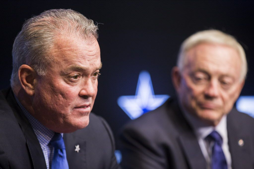 Dallas Cowboys Executive Vice President and CEO Stephen Jones and owner Jerry Jones answer questions from reporters after round two and three of the 2017 NFL Draft on Friday, April 28, 2017 at The Star in Frisco, Texas. (Ashley Landis/The Dallas Morning News)