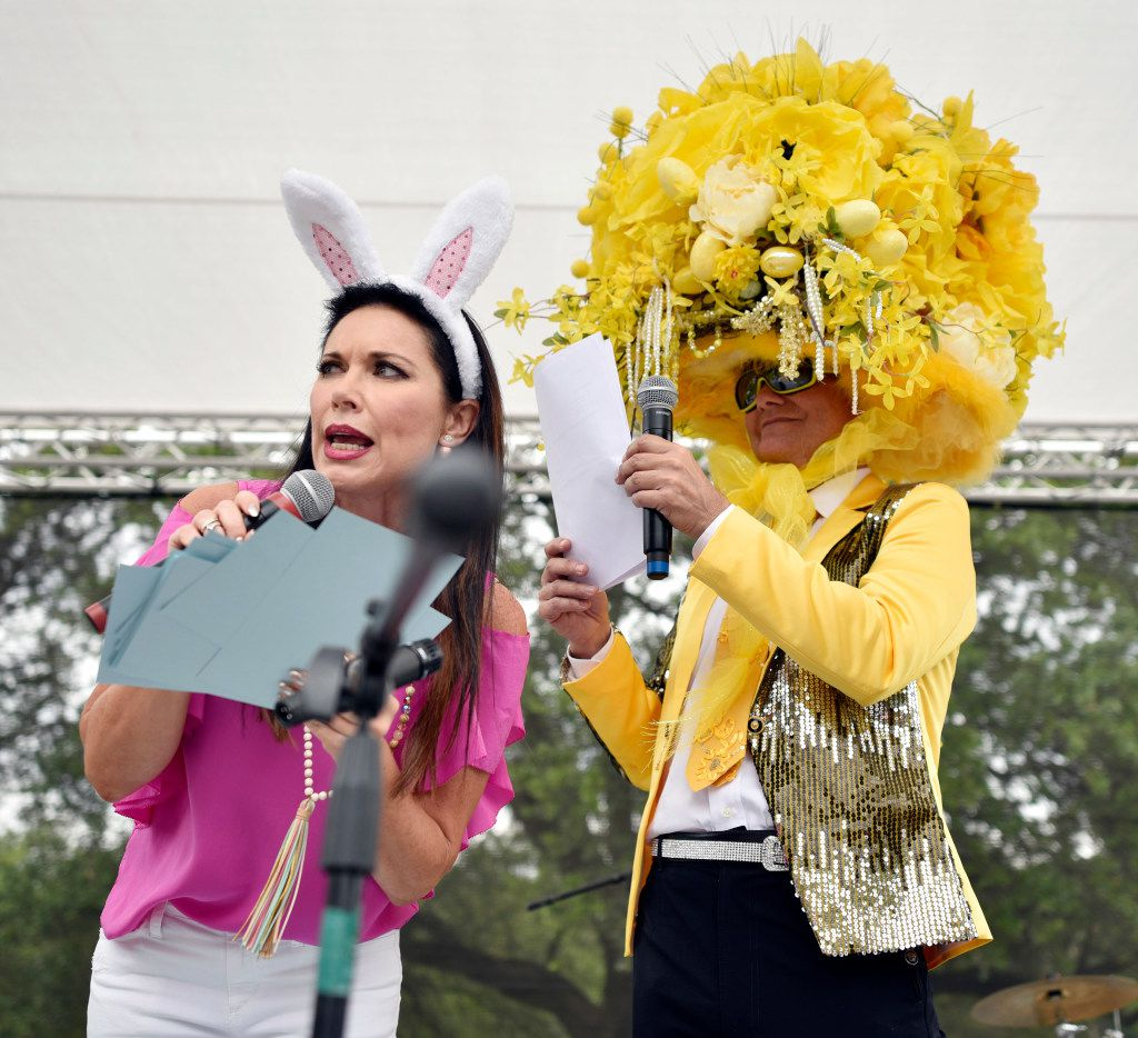 "You can always count on LeeAnne Locken to show up in costume: Here, the ""Real Housewife of Dallas"" star, left, and lifestyle guru Steve Kemble host the pooch parade at Easter in Lee Park, in April."