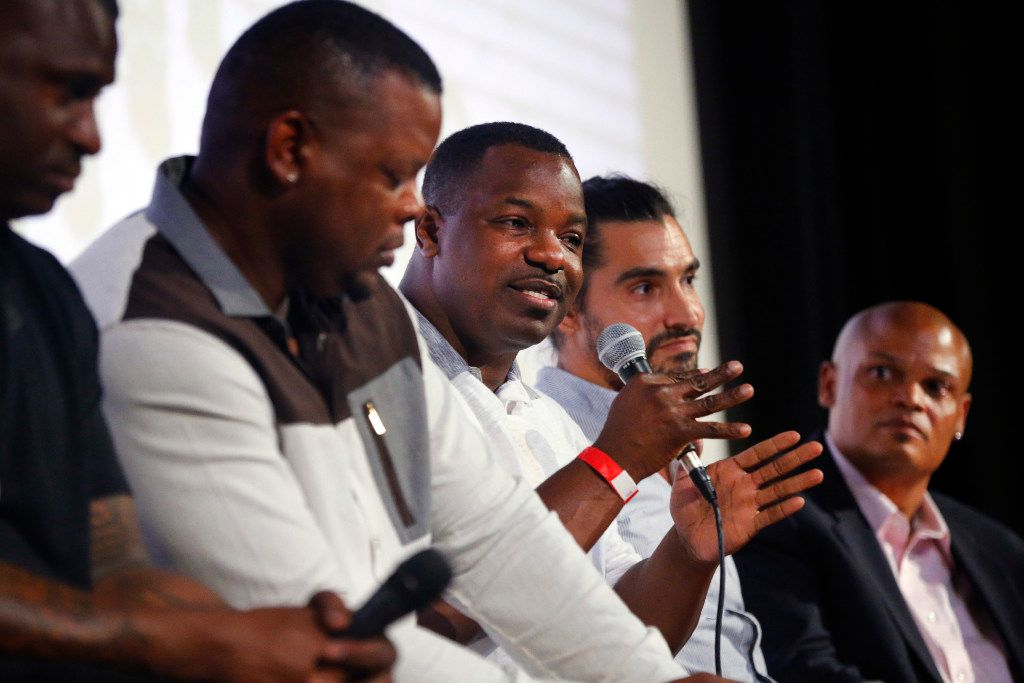 2017: Former Carter High football player Gary Edwards (center) joined Jessie Armstead (left), Derric Evans (second from left) for a discussion of What Carter Lost, an ESPN documentary about the 1988 Carter football team. The film was screened at the Texas Theatre in Dallas earlier this month. Joining the discussion following the premier is director Adam Hootnick and moderator Jean-Jacques Taylor (right).
