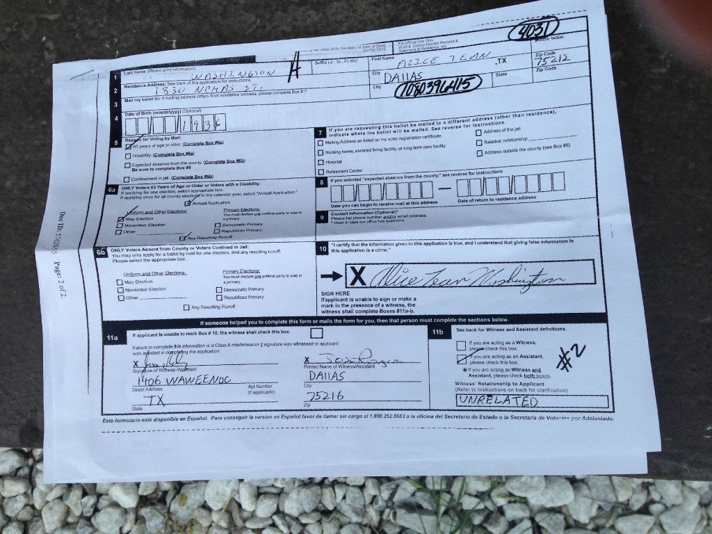 """A copy of Alice Washington's mail-in ballot application, which her niece Barbara Roberson received from the Dallas County Elections Department. Washington says that is not her signature, while the Dallas County District Attorney's office says the """"Jose Rodriguez"""" who also signed it does not exist."""